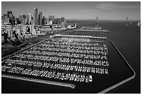 Aerial view of South Beach Harbor, downtown, and Bay Bridge. San Francisco, California, USA ( black and white)