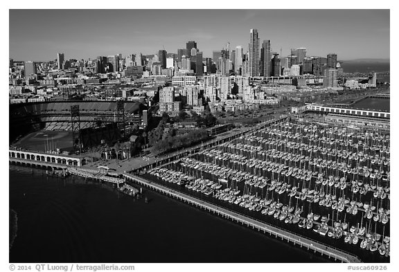 Aerial view of South Beach Harbor, ATT Park, and downtown. San Francisco, California, USA (black and white)