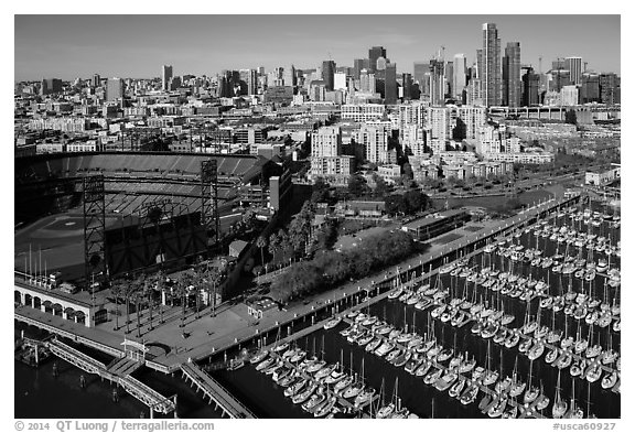 Aerial view of South Beach Harbor, ATT Park, and South of Market. San Francisco, California, USA (black and white)