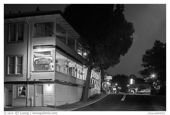 Groveland hotel and main street at night. California, USA (black and white)