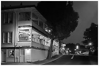 Groveland hotel and main street at night. California, USA ( black and white)