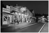 Iron Door Saloon and Groveland main street at night. California, USA ( black and white)