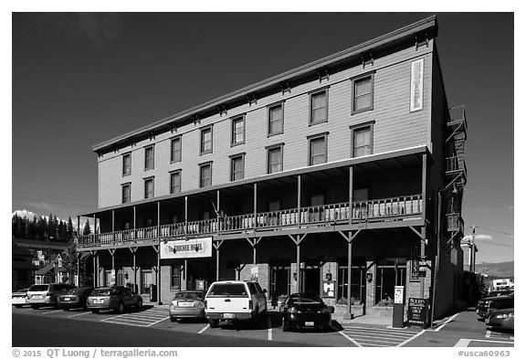 Truckee Hotel, Truckee. California, USA (black and white)