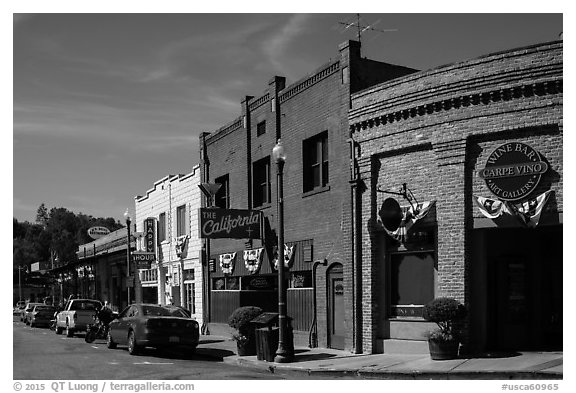 Historic buildings, Auburn. California, USA (black and white)