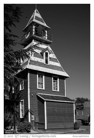 Queen Anne style Old Town Firehouse, Auburn. California, USA (black and white)
