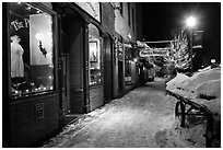 Snowy sidewalk at night, Truckee. California, USA ( black and white)