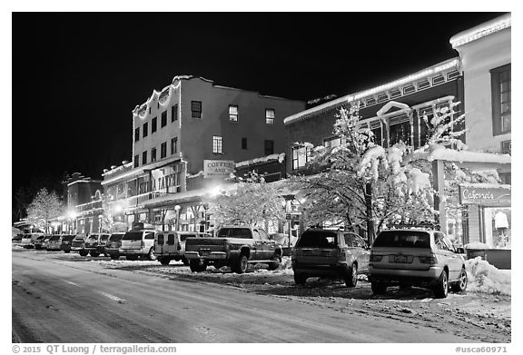 Wintry street at night, Truckee. California, USA (black and white)