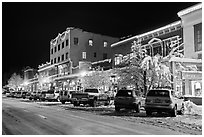 Wintry street at night, Truckee. California, USA ( black and white)