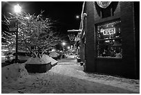 Main street in winter at night, Truckee. California, USA ( black and white)