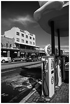 Gas pumps and street, Truckee. California, USA ( black and white)
