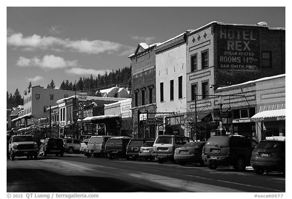 Main street in winter, Truckee. California, USA (black and white)