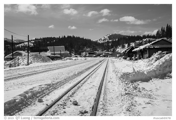 Railroad tracks in winter, Truckee. California, USA (black and white)
