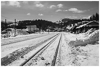 Railroad tracks in winter, Truckee. California, USA ( black and white)