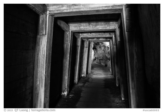 Gallery with wooden support beams, Gold Bug Mine, Placerville. California, USA (black and white)