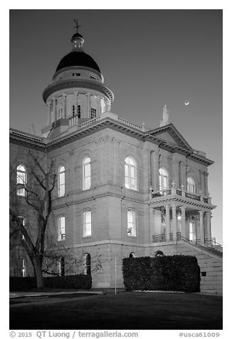 Placer County Courthouse and crescent moon, Auburn. California, USA (black and white)