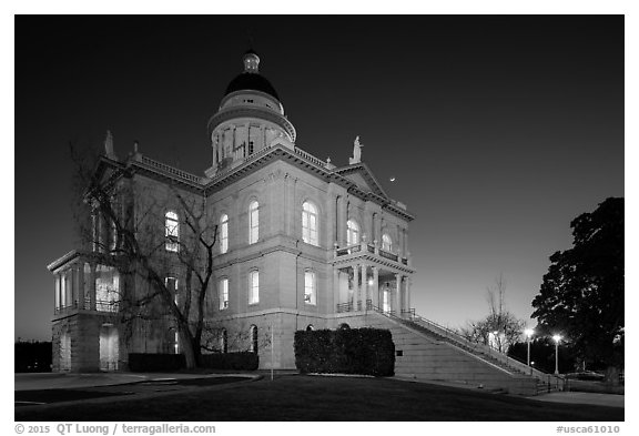 Placer County Courthouse at dusk with crescent moon, Auburn. California, USA (black and white)
