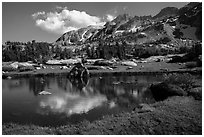 Alpine tarn, Twenty Lakes Basin, Inyo National Forest. California, USA ( black and white)