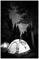 Lighted tents, forest, and Milky Way, Prosser Ranch Group Campground, Tahoe National Forest. California, USA ( black and white)