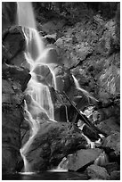 Grizzly Falls in autumn, Sequoia National Forest, Giant Sequoia National Monument near Kings Canyon National Park. California, USA ( black and white)