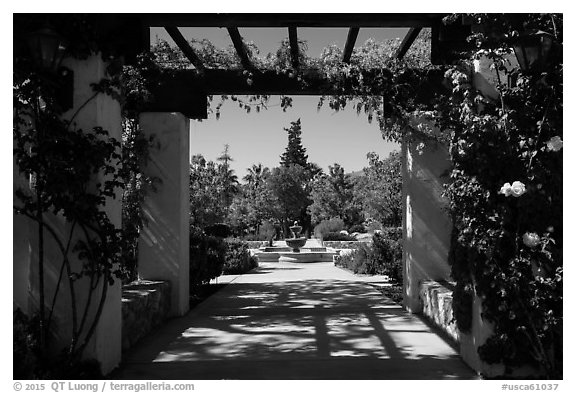 Entrance to memorial garden, Cesar Chavez National Monument, Keene. California, USA (black and white)