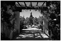 Entrance to memorial garden, Cesar Chavez National Monument, Keene. California, USA ( black and white)