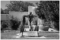 Grave of Cesar Chavez, Cesar Chavez National Monument, Keene. California, USA ( black and white)