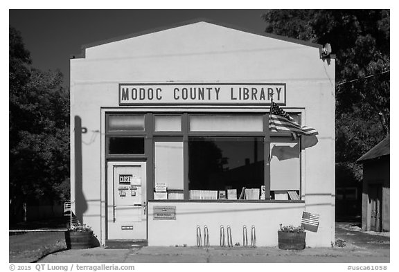 One-room Modoc County Library, Cedarville. California, USA (black and white)