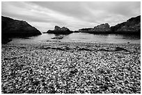 Beach covered with seaglass. Fort Bragg, California, USA ( black and white)