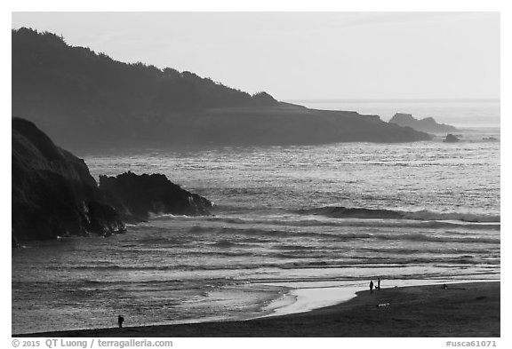 Coastline at Jug Handle Creek outlet. Fort Bragg, California, USA (black and white)