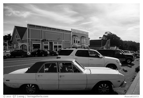 Classic car and street. Mendocino, California, USA (black and white)
