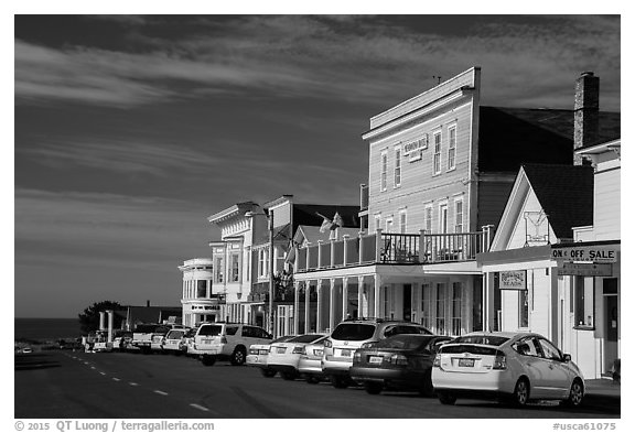 Mendocino Hotel and main street. Mendocino, California, USA (black and white)