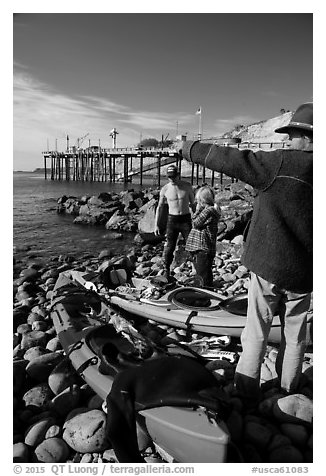 Abalone divers. California, USA (black and white)
