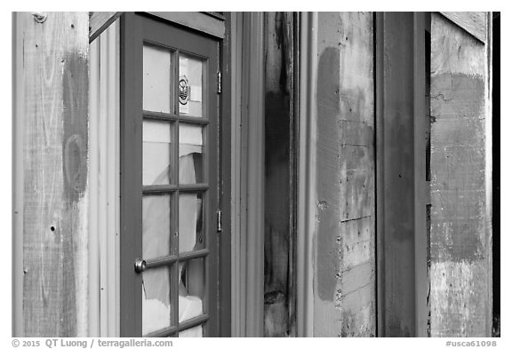 Doors and painted walls, Petaluma Mill. Petaluma, California, USA (black and white)