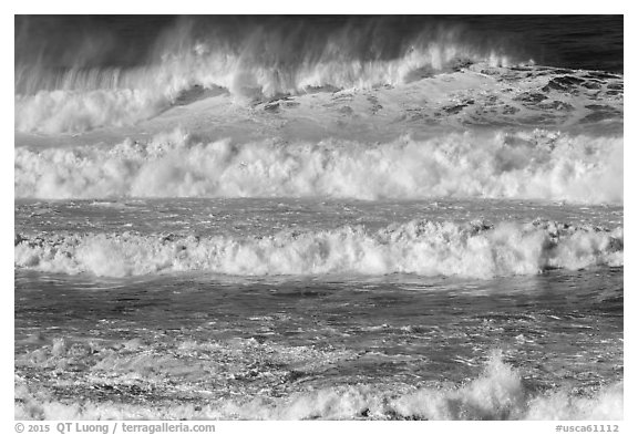 Rows of waves breaking offshore. Half Moon Bay, California, USA (black and white)