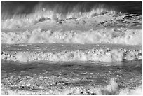 Rows of waves breaking offshore. Half Moon Bay, California, USA ( black and white)