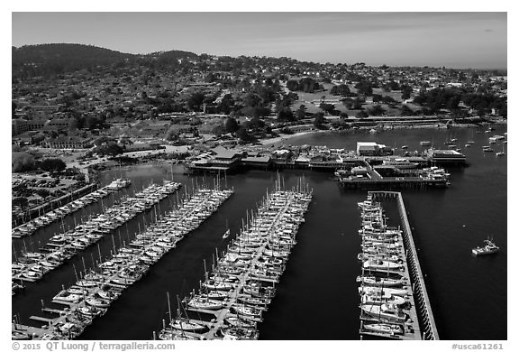 Aerial view of harbor. Monterey, California, USA (black and white)
