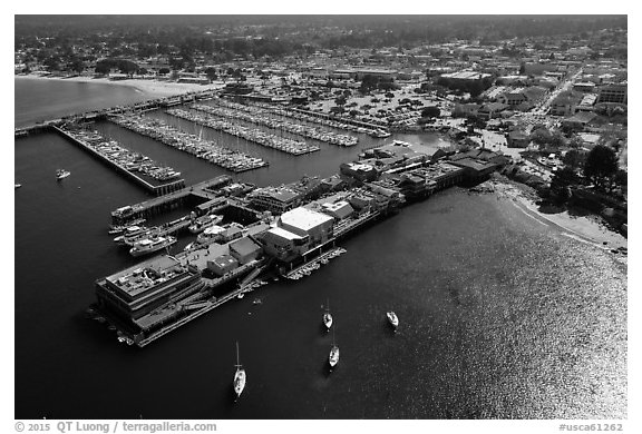 Aerial view of wharf and harbor. Monterey, California, USA (black and white)
