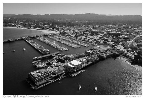 Aerial view of harbor and downtown. Monterey, California, USA (black and white)
