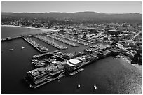 Aerial view of harbor and downtown. Monterey, California, USA ( black and white)