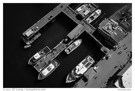 Aerial view of wharf and tour boats. Monterey, California, USA (black and white)