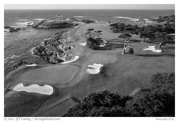 Aerial view of golf course on edge of coast. Pebble Beach, California, USA (black and white)