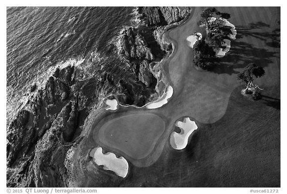 Aerial view of golf course and coastline. Pebble Beach, California, USA (black and white)