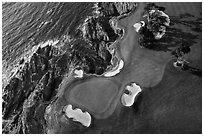 Aerial view of golf course and coastline. Pebble Beach, California, USA ( black and white)