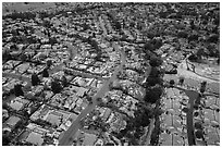 Aerial view of Meadowlands and Villages after hailstorm. San Jose, California, USA ( black and white)