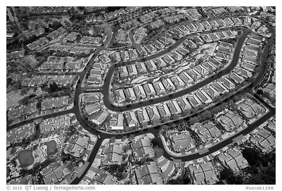 Aerial view of Villages after hailstorm. San Jose, California, USA (black and white)