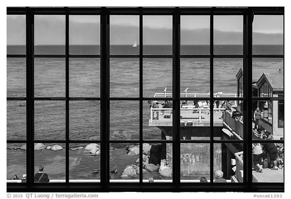 Monterey Bay framed by Monterey Bay Aquarium window. Monterey, California, USA (black and white)