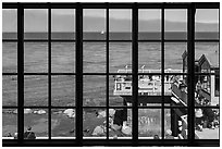 Monterey Bay framed by Monterey Bay Aquarium window. Monterey, California, USA ( black and white)