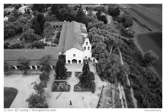 Aerial view of Mission San Juan and fields. San Juan Bautista, California, USA (black and white)