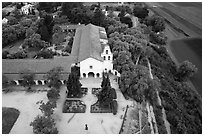 Aerial view of Mission San Juan and fields. San Juan Bautista, California, USA ( black and white)