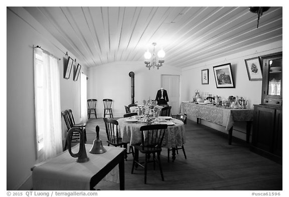 Dining room, Plaza Hotel. San Juan Bautista, California, USA (black and white)
